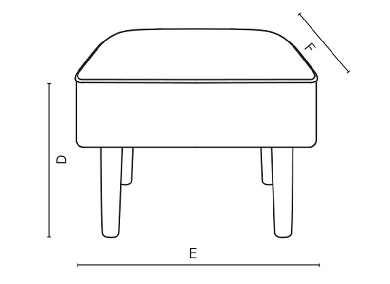 Square Slogan Stool dimensions