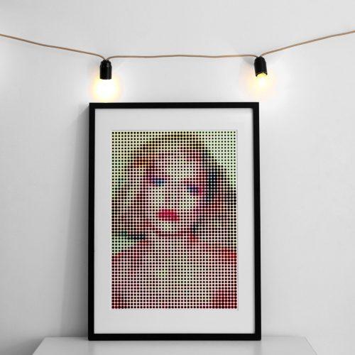 Mockup Debbie Harry Halftone Portrait polka dot pop art print