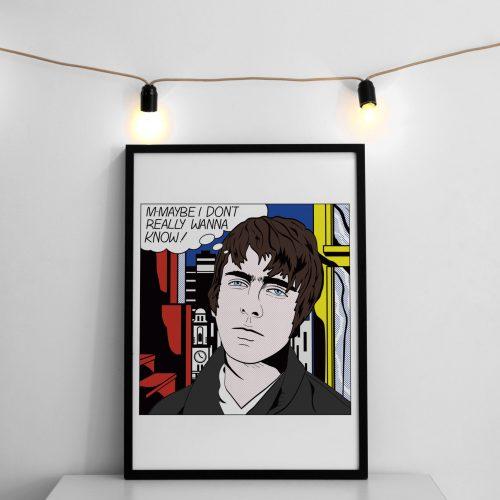 Mockup Brit Pop Art Lichtenstein inspired Liam Gallagher m-maybe artwork