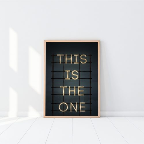Wooden Frame with Poster Mockup standing on the white floor. 3d